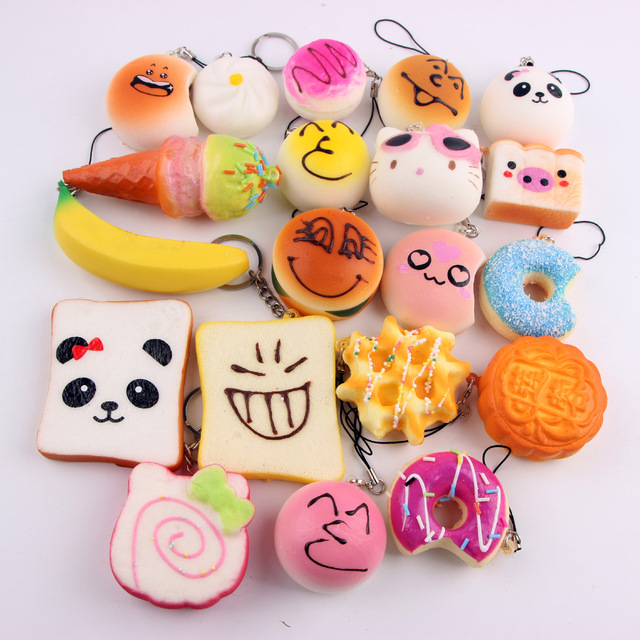 Squishy Donuts Kawaii : 10pcs Hot Sale Kawaii Donuts Squishy Phone Strap Panda Donut Bread Cake Squishies Many Style ...