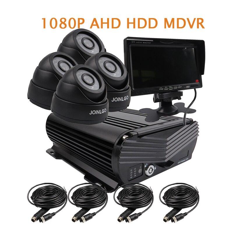 Free Shipping 4CH 1080P 2.0MP HD AHD 2TB HDD Hard Disk Car DVR MDVR Video Recorder 4pcs IR InCar Dome Car Camera 7