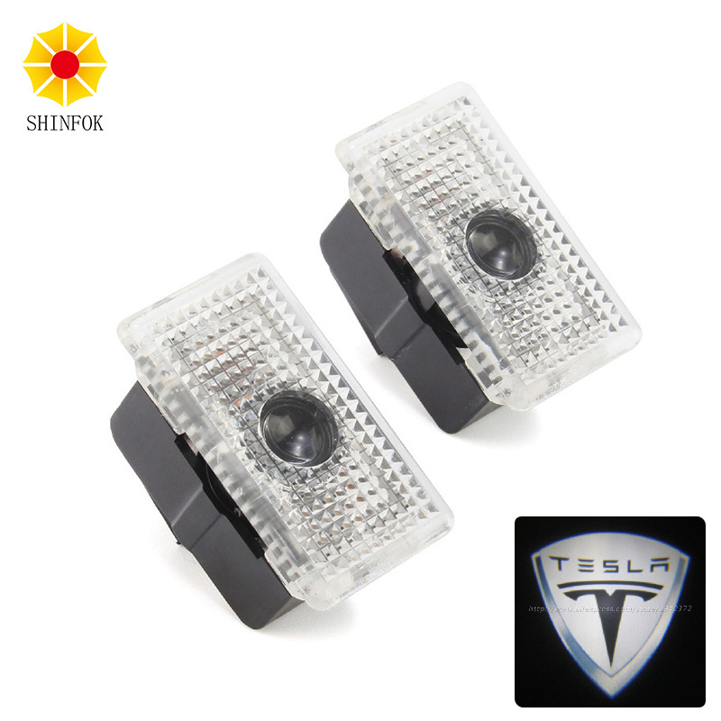 2pcs/lot Car Courtesy ghost shadow welcome Laser logo projector door light For Tesla