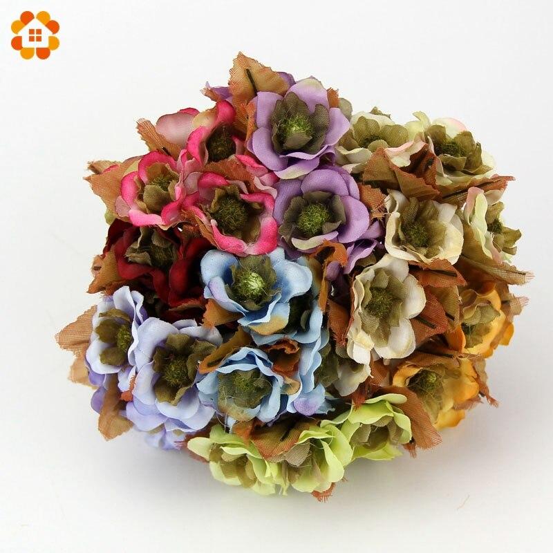 6 Unids/lote Nueva Lata Al Por Mayor Ramo de Flores Artificiales de Seda Multico