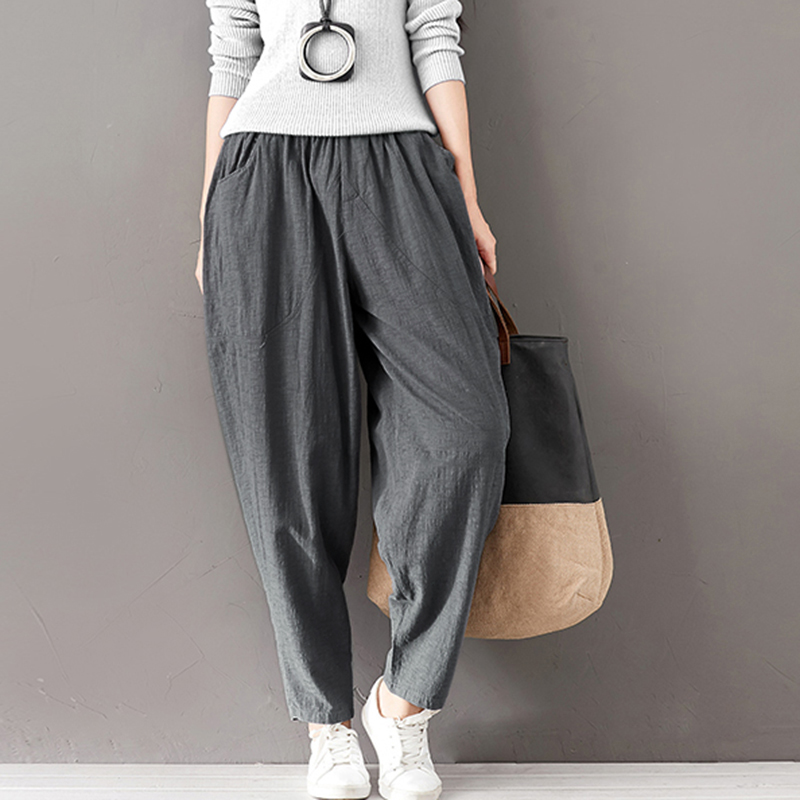 Spring Autumn Women Casual Trousers Solid Pocket Ankle Length Pants Loose Elastic High Waist Harem Pants