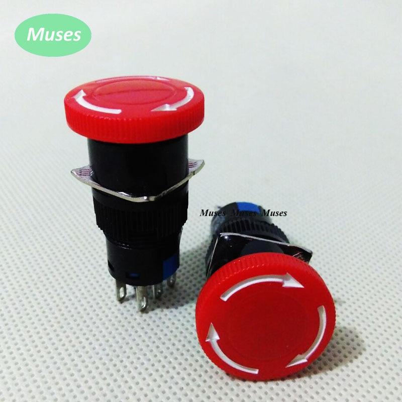 16mm Mounting 2NO 2NC SPST Mushroom Emergency Stop Push Button Switch