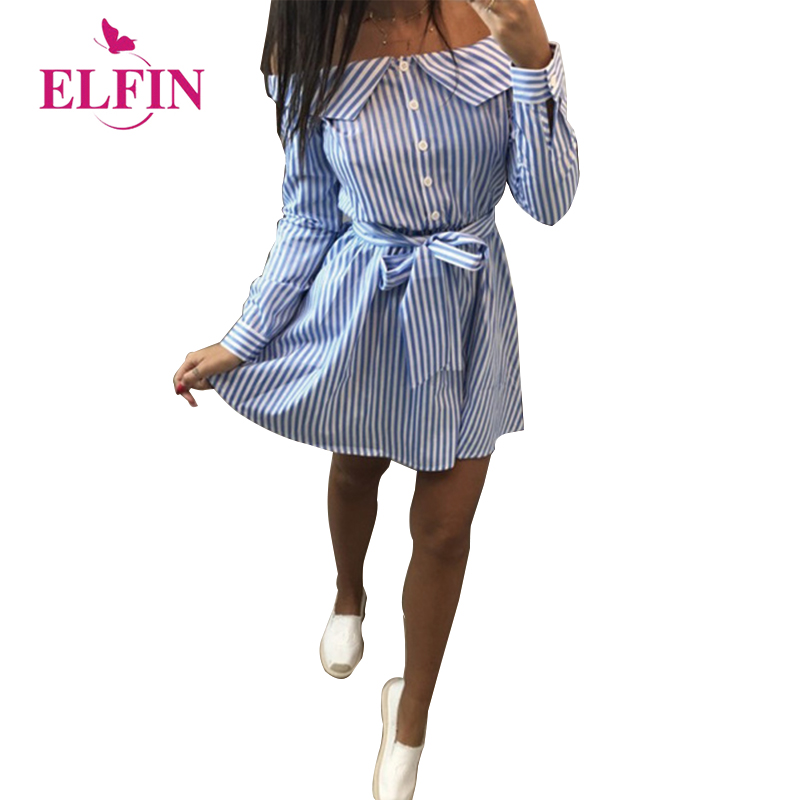 2018 Casual Women Shirts Dress Elegant Off Shoulder Striped Dresses Short Bow Ties Summer Dress Vestidos WS7768R