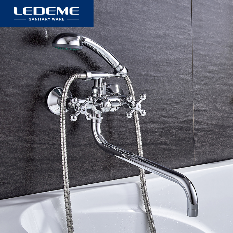 LEDEME Bathtub Faucet Modern Style Bath Faucet In-Wall Waterfall Mixer Tap Bathtub Crane Bathroom Shower Faucet Set L2619 ledeme bathtub faucet modern style bath faucet in wall waterfall mixer tap bathtub crane bathroom shower faucet set l2619