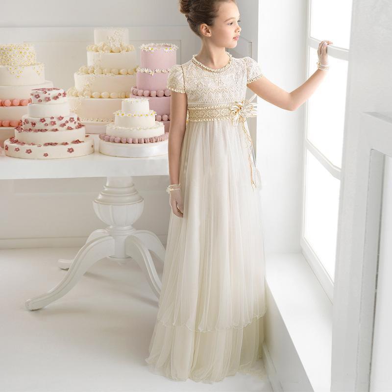 2019 New Lovey Ball Princess   Flower     Girl     Dresses   Beaded First Communion   Dresses   For   Girls   Sleeveless Tulle Pageant Party   Dresses