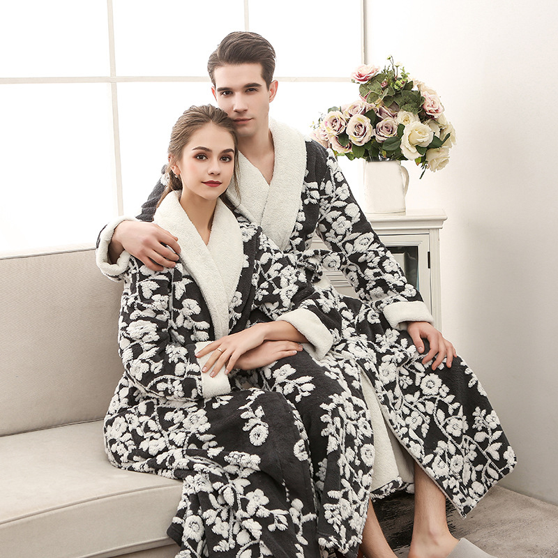 Thick Warm Flannel Robe Women And Men Long Bathrobe Jacquard Flannel Kimono Dressing Gown Sleepwear Winter Couple Bath Robe