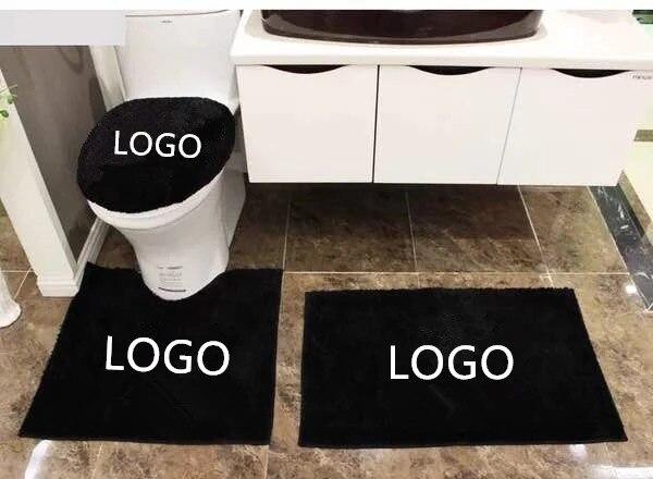 Housse de siège de toilette personnalisée noire sertie de tout LOGO antidérapant 4 pc tapis de bain de salle de bain