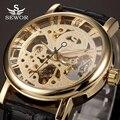 2017 novo sewor esqueleto relógio mecânico relógio de ouro relógios de luxo da marca mens pulseira de couro relógio de pulso masculino relogio masculino