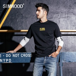 Image 1 - SIMWOOD New Long Sleeve T Shirt Men Casual Streetwear Letter Printed t shirt 100% Cotton Fashion Tops Brand Tees Male 190159