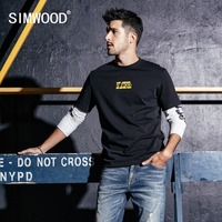SIMWOOD New Long Sleeve T Shirt Men Casual Streetwear Letter Printed t shirt 100% Cotton Fashion Tops Brand Tees Male 190159