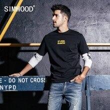 SIMWOOD yeni uzun kollu T Shirt erkekler rahat Streetwear mektup baskılı t shirt % 100% pamuk moda üst giyim marka tee erkek 190159