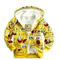 Novo 2017 das Crianças dos desenhos animados jaqueta baby & kids SpongeBob grossas moletons Hoodies meninas meninos outerwear casaco Quente em estoque