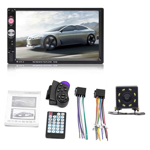 7023B 2 Din coche reproductor de Audio Multimedia Radio estéreo 7 pulgadas pantalla táctil HD MP5 reproductor compatible con cámara Bluetooth FM USB SD Aux