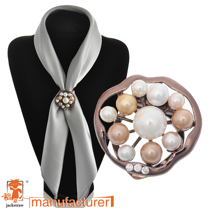 2018 round Brooches Brooch Hijab Tips Korean Plated Pearl Scarf clip Dual rhinestone shawl buckle Jewelry pins