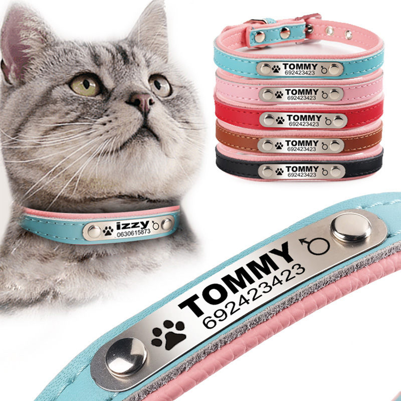 FLOWGOGOส่วนบุคคลแกะสุนัขแมวปลอกคอถักหนังที่กำหนดเองลูกสุนัขแมวสัตว์เลี้ยงปกIDแท็กสำหรับสุนั...