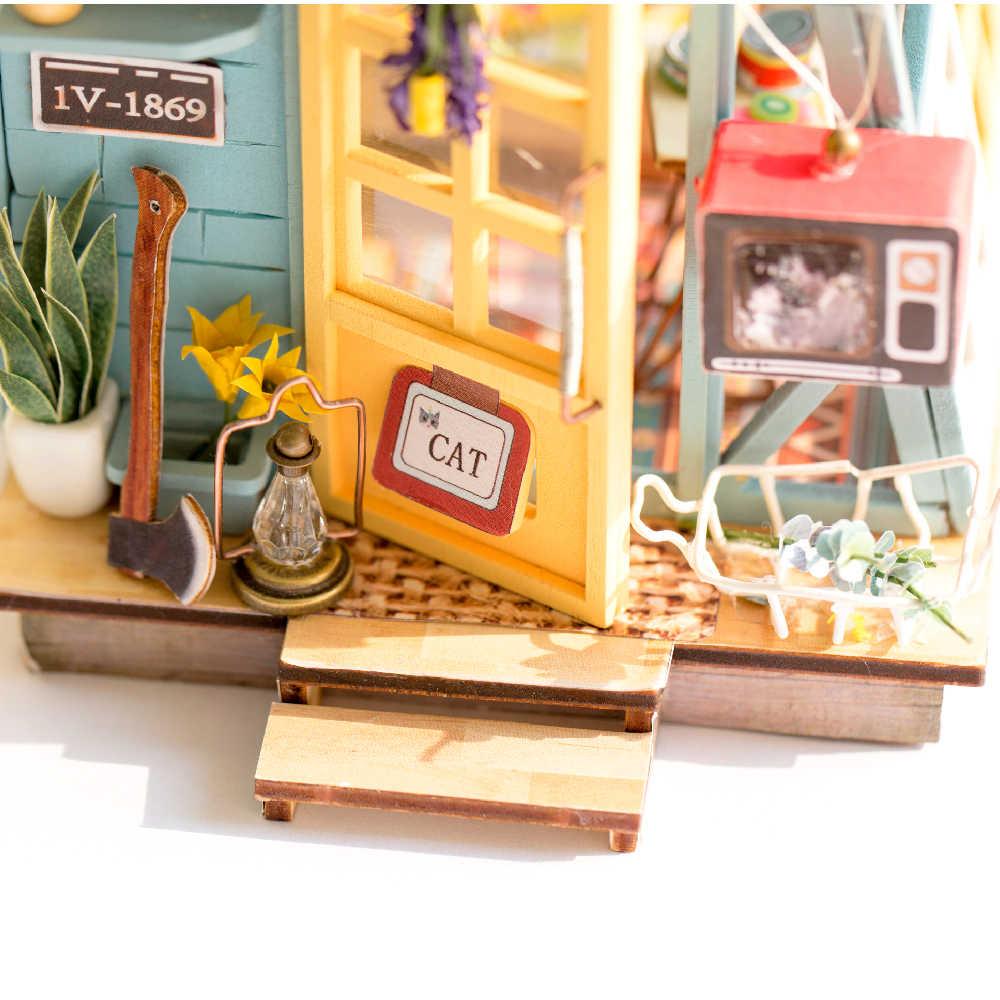 DIY كوخ خشبي مع الأثاث الأطفال الكبار مصغرة دمية مجسم لمنزل بناء أطقم دمية اللعب ل هدية الكريسماس DGM03