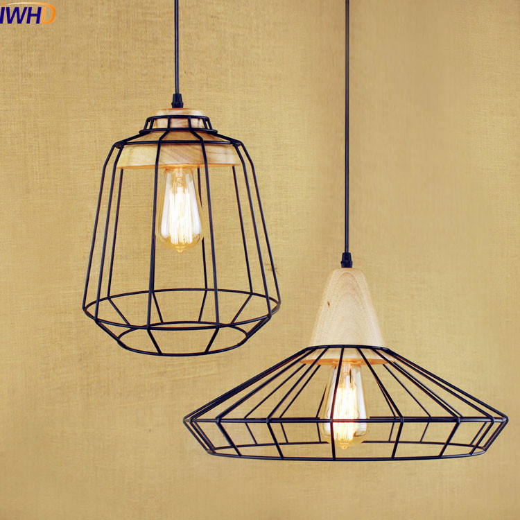 IWHD Wooden Style Loft Industrial Pendant Lighting Fixtures Iron Metal Vintage Lamp LED Pendant Lights Lampara Hanging Light loft industrial rust ceramics hanging lamp vintage pendant lamp cafe bar edison retro iron lighting