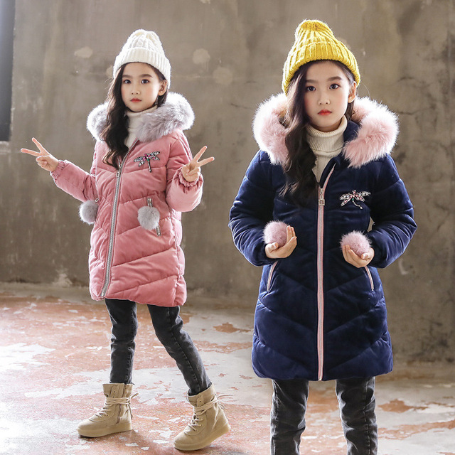 83b0154d0e68 Baby Girls Cold Winter Coat Children Clothing Girls Clothes Big Fur ...