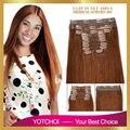 Yotchoi clip en juegos 10 unids 100% pinza de pelo humano en extensiones 5A grado áfrica américa del clip en extensiones del pelo humano del color 30 #