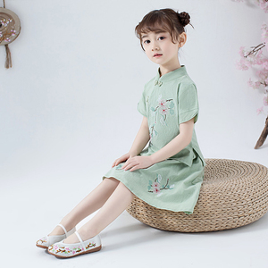 Image 3 - Lovely Girls Cheong sam 2PC Chinese Traditional Style Han Fu Baby Retro Dress Children Summer Casual Cotton Linen Dresses