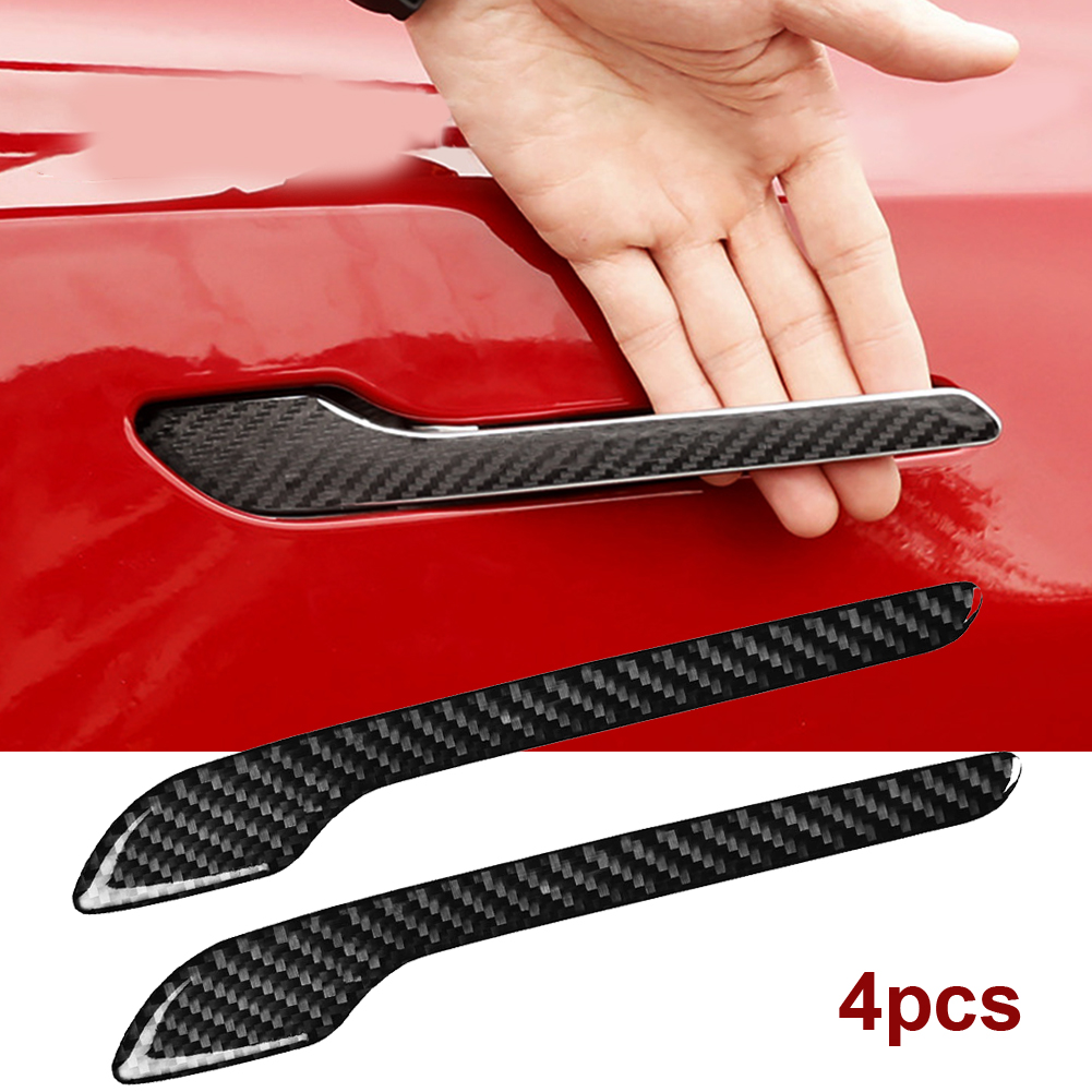 4PCS Matte Black Protector Stickers Waterproof Anti-scratch Decals DIY Door Handle Wrap Cover Protector For Tesla Model 3