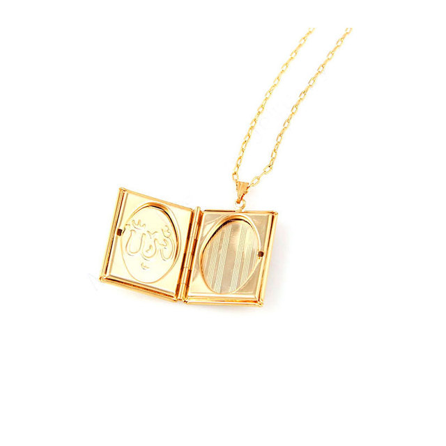 Box Necklaces for Women/Girl,Allah Pendant Gold Color Muslim Islamic Jewelry Gift 2