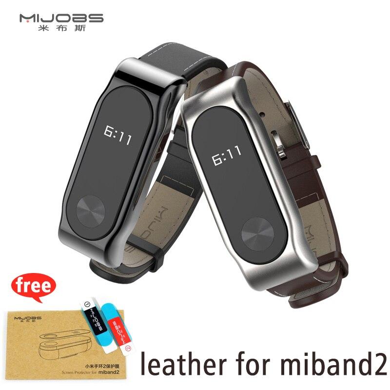 Mijobs PU Leather Strap For Xiaomi Miband 2 Wrist Strap Mi Band Smart