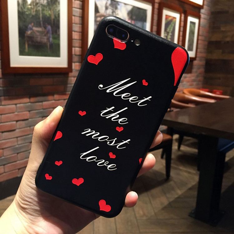 Applicable to iphone6 7 8 X XR XMAX mobile phone case painted red lip print TPU soft plastic drop protection cover in Half wrapped Cases from Cellphones Telecommunications