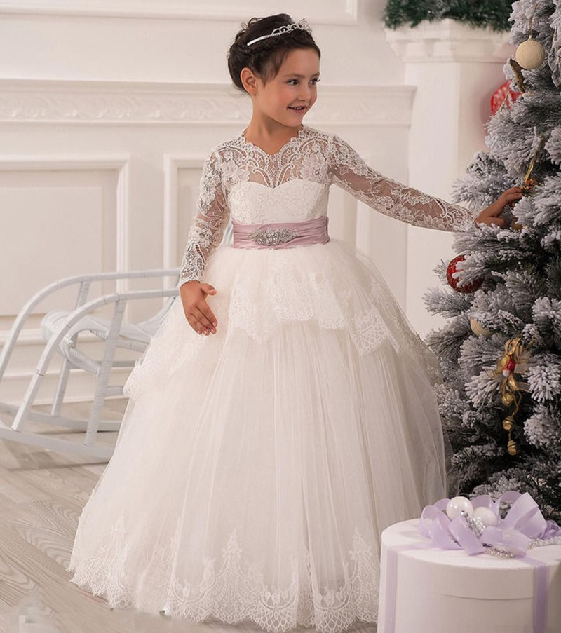 2016 Christmas Lace   Flower     Girl     Dresses   Long Sleeve Hollow Back Floor Length Bow Sash Princess Ball Gown Pageant Kid's   Dress