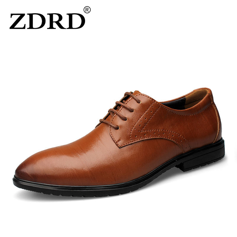 ZDRD New Fashion Genuine Leather Men Oxford Shoes Lace up Breathable Business Men Shoes 2017 Summer