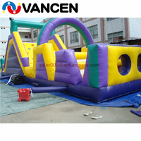 Boot camp inflatable obstacle course good quality bouncer castle 12*3*3m inflatable obstacle course for sale for kids