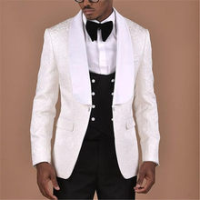 Latest 2020 White Pattern Men Suits For Wedding Tuxedos Masculino 3Pieces(Jacket+Pants+Vest+Tie) Casual Slim Fit Men Suit(China)