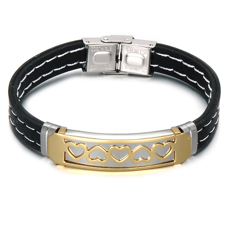 Хорошее качество, модные ювелирных изделий из кожи Веревка Плетеный браслет IP золотое покрытие из нержавеющей стали энергии браслет лучший...