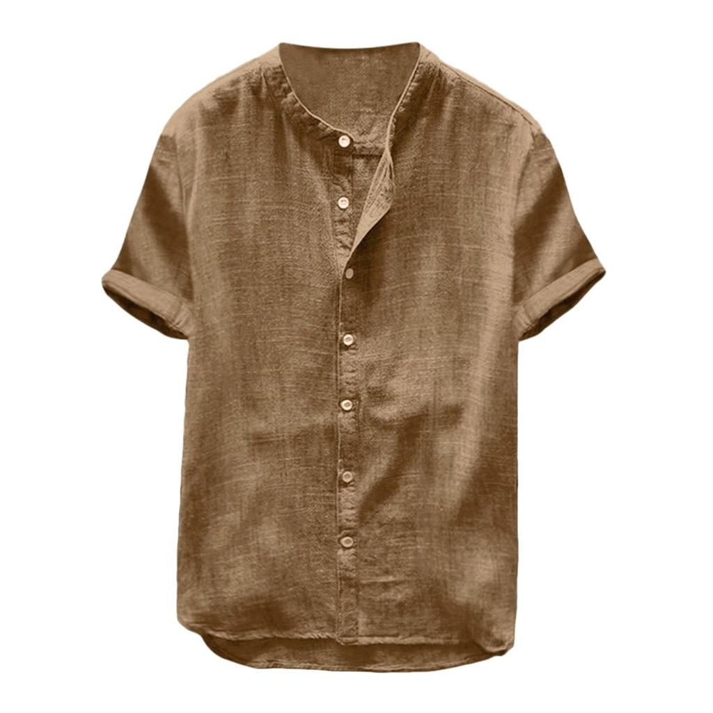 2019 בתוספת גודל הקיץ חדש גברים חולצה בבאגי כותנה פשתן מוצק קצר שרוול רטרו חולצות חולצות 2XL camisa masculina תחתונית homme