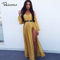 Tobinoone Off shoulder sexy club dress women Ruffle wrap chiffon dress suit summer dress Backless beach long dress vestidos