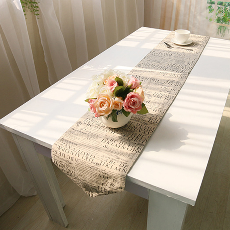 table runners english letter pattern vintage natural table. Black Bedroom Furniture Sets. Home Design Ideas