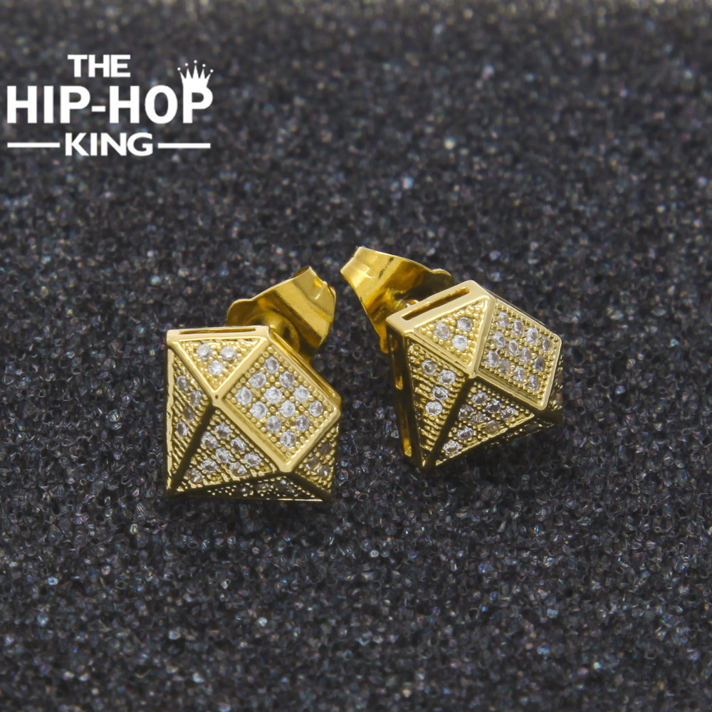 Hip Hop Full Iced Out Cz Simulated Diamonds Earring Gold Color Irregular Copper Earring High Quality Women Accessories