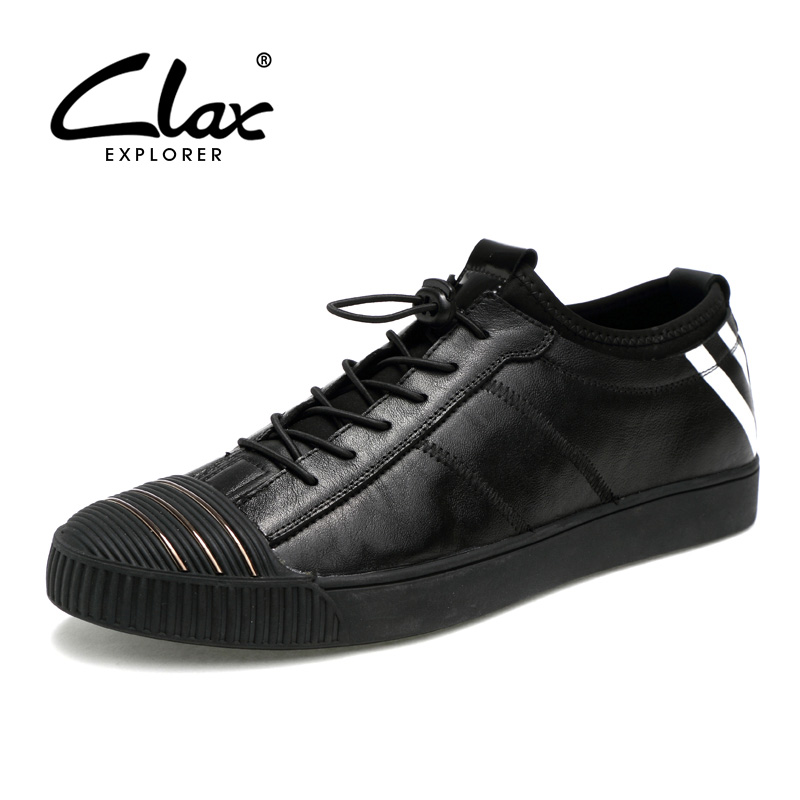 CLAX Men Casual Shoes Autumn Fashion Leather Footwear Male 2017 Black Leisure Shoe Genuine Leather Designer Walking Shoe Classic new 2017 men s genuine leather casual shoes korean fashion style breathable male shoes men spring autumn slip on low top loafers