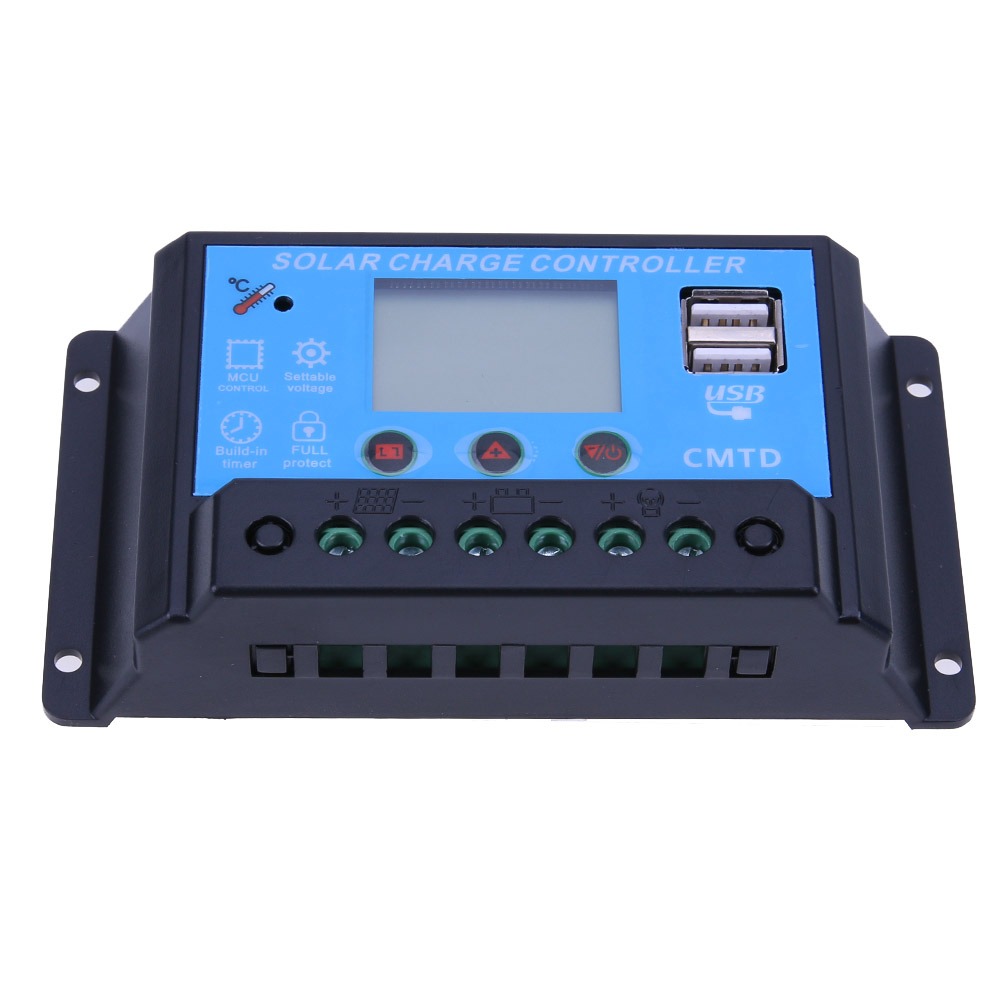 12/24V 10A LCD USB Solar Panel Battery Regulator Charge Controller For LED Solor Street Light Home Solar Systerm