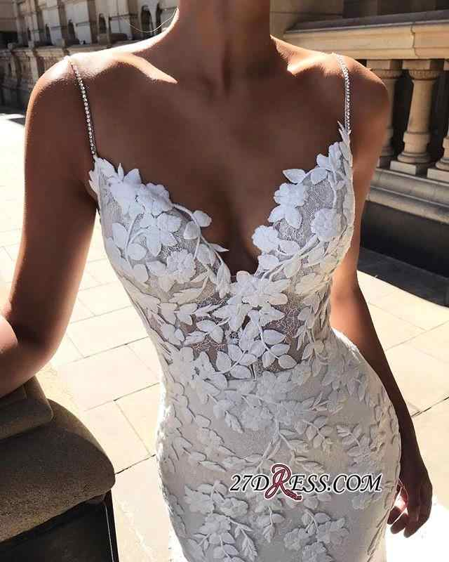 Vestido דה Noiva Sereia סקסי ללא משענת תחרת בת ים חתונת שמלות 2019 ספגטי רצועות חרוזים כלה שמלות כלה שמלה