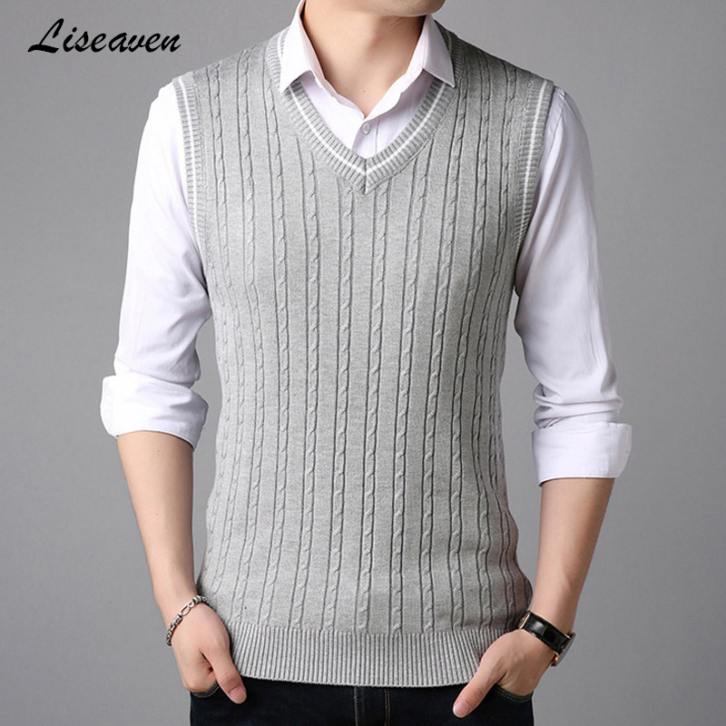 Liseaven Men Vest Sleeveless Sweaters Pullover Sweater Knitwear Pull Men V-Neck Tops Male Pullovers