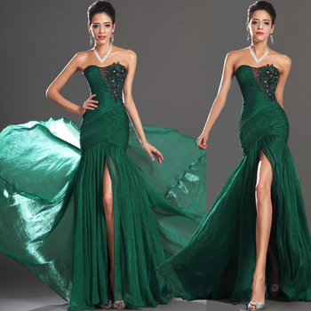 2016 new stock plus size women bridal gown wedding party long green sexy mermaid sweetheart neckline formal evening dresses 639
