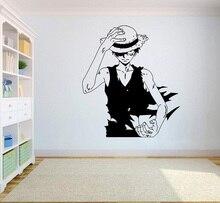 Gadgets Wrap One Piece Wall vinilo Decal camiseta de Anime Wall Art Monkey D. Luffy vinilo pegatina decoración para el hogar diseño de dormitorio HZW08