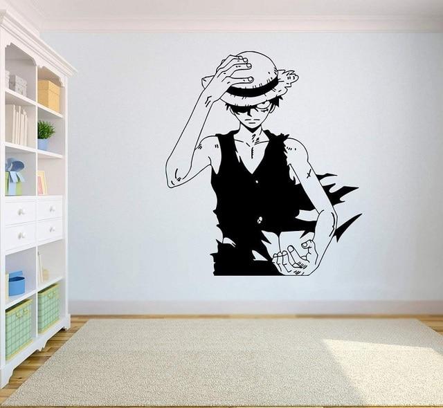 Gadgets envoltório um pedaço de parede decalque de vinil superior anime arte da parede macaco d. Luffy vinil adesivo decoração para casa quarto design hzw08