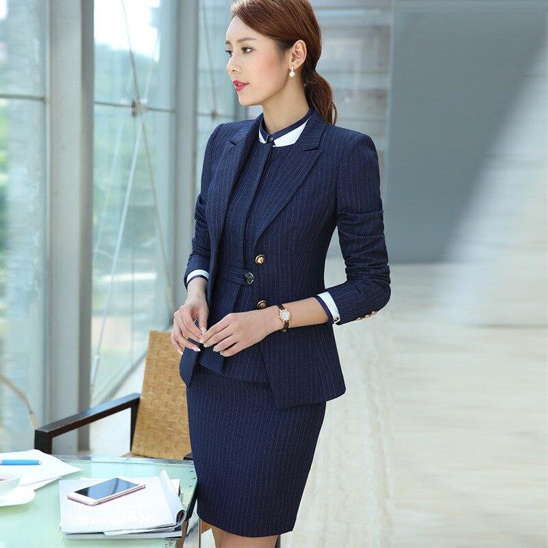 Blazer Suit Set For Women Stripe Long Sleeve Pant Suit Office Lady Button Temperament Shitsuke Woman Business Suits Female Suits