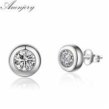 ANENJERY argento Sterling 925 semplice moda zircone Dot orecchini per le donne ragazza regalo pendientes S-E460