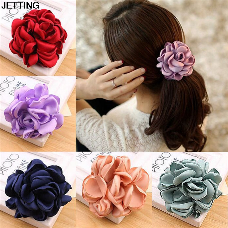 hot 1pcs Big Rose Flower Elastics Hair Holders Rubber Bands Girls Women Kawaii Cute Tie Gum Fabric Hot Sale   Headwear   Accessories
