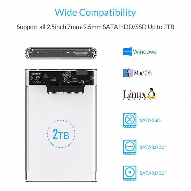 2.5 inch Transparent USB 3.0 HDD Case Tool Free UASP Hard Drive Enclosure External Drive Box USB 3.0 Cable Best Price Wholesale