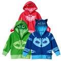 Модные мальчики и девочки pjmasks одежда пальто catboy гекко owlette мультфильм балахон + тройник детская одежда комплект одежды хлопка