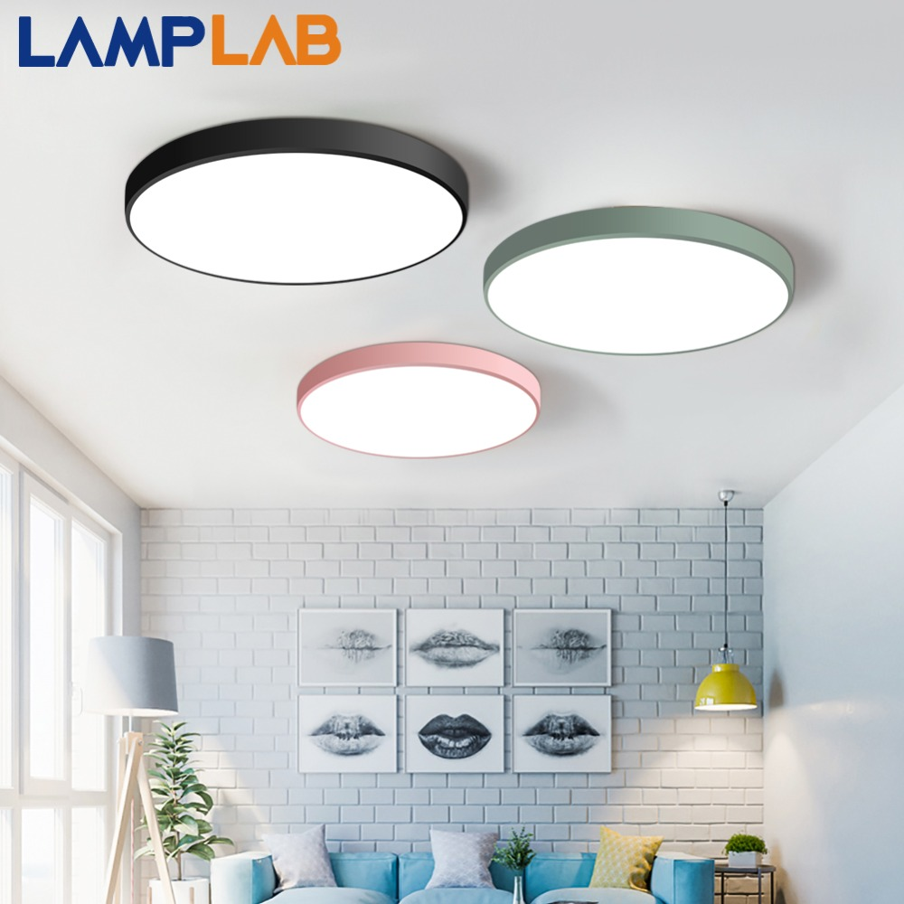 Lamplab Led Ceiling Light Modern Lamp Living Room Lighting Fixture Bedroom Kitchen Surface Mount Flush Panel Remote Control Soft And Light